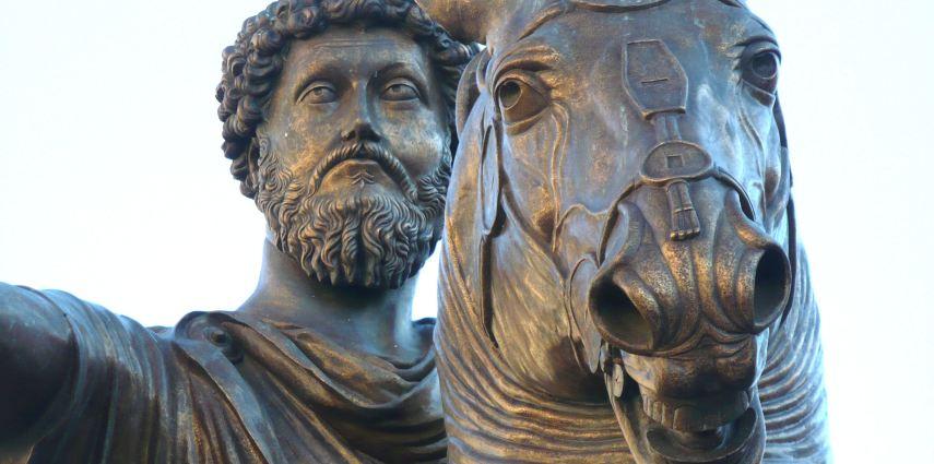 <p>Dettaglio della statua equestre bronzea dell'imperatore Marco Aurelio (161-180 ad). eretta nel mezzo della piazza del Campidoglio sin dal 1538 quando la piazza fu ristrutturata da Michelangelo.</p>