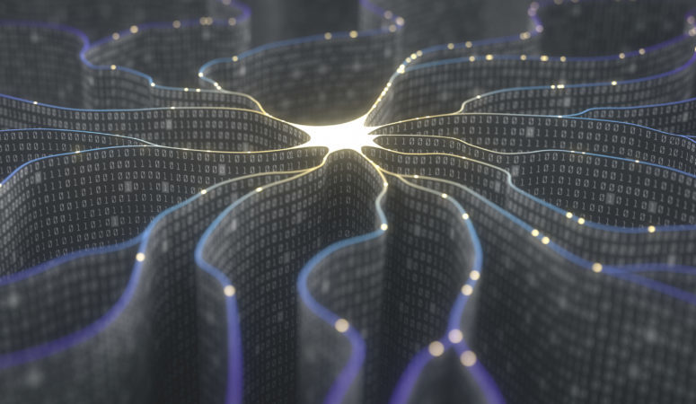 <p>3D illustration. Artificial neuron in concept of artificial intelligence. Wall-shaped binary codes make transmission lines of pulses and/or information in an analogy to a microchip.</p>